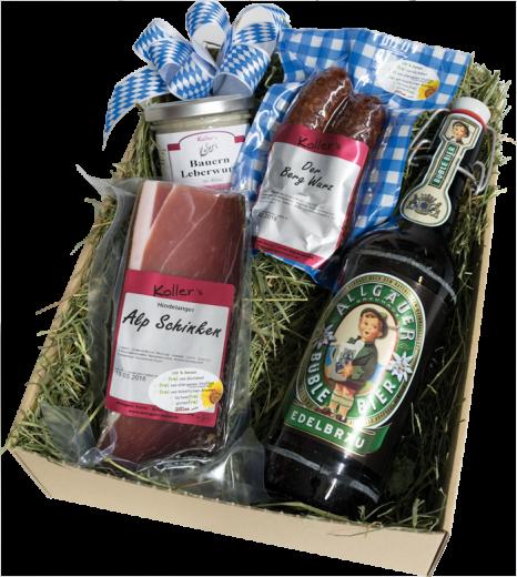 ALPENBOX Geschenkkarton - Geschenkbox - Probierpaket auf Bergwiesenheu